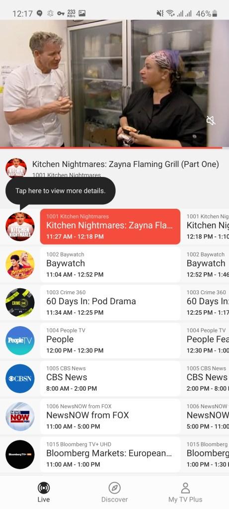 Screenshot of Samsung TV Plus App Apk