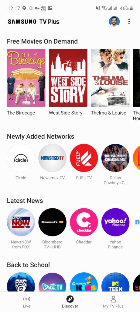 Screenshot of Samsung TV Plus App