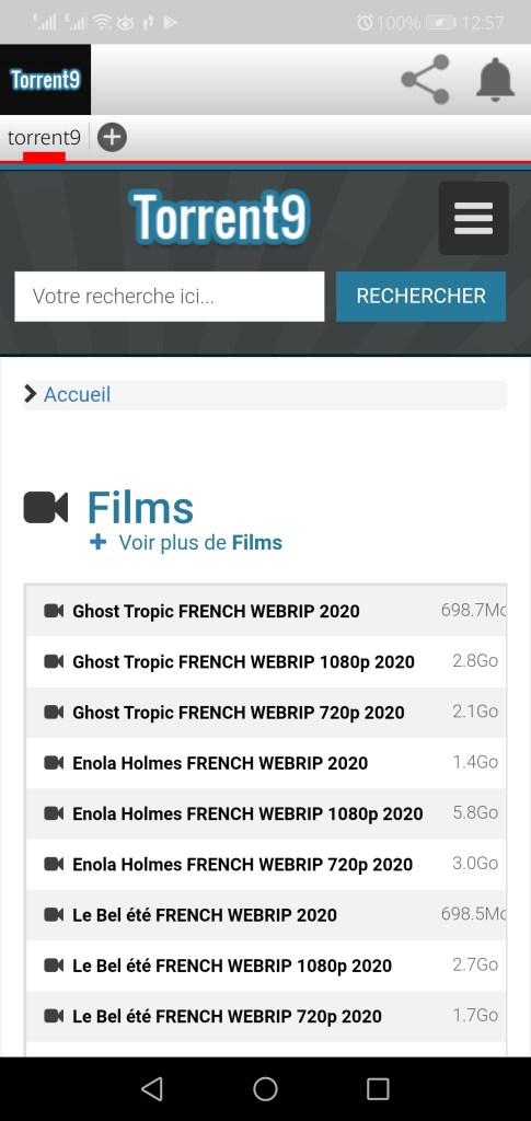 Screenshot of Torrent9 App Apk