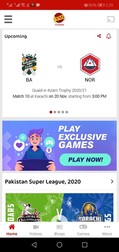 Screenshot of Jazz Cricket App