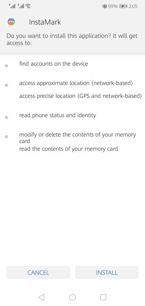 Screenshot of InstaMark