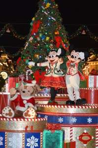 Mickey and Minnie wave to the crowd during Mickeys Once Upon a Christmastime parade - Orlando Fun and Food
