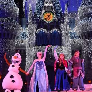 Frozen characters taken over the castle for the Frozen Holiday Wish!!!