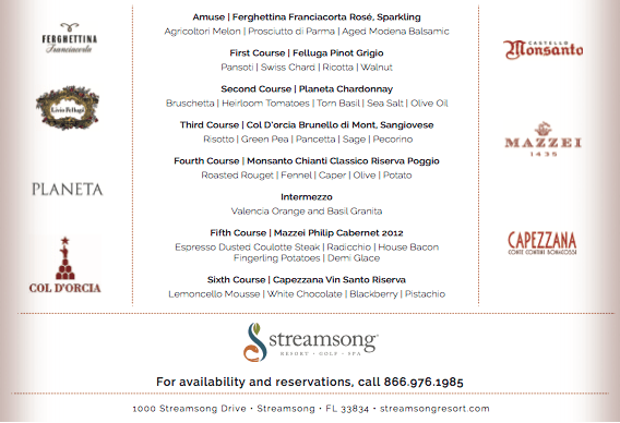 Streamsong Italian Wine Dinner