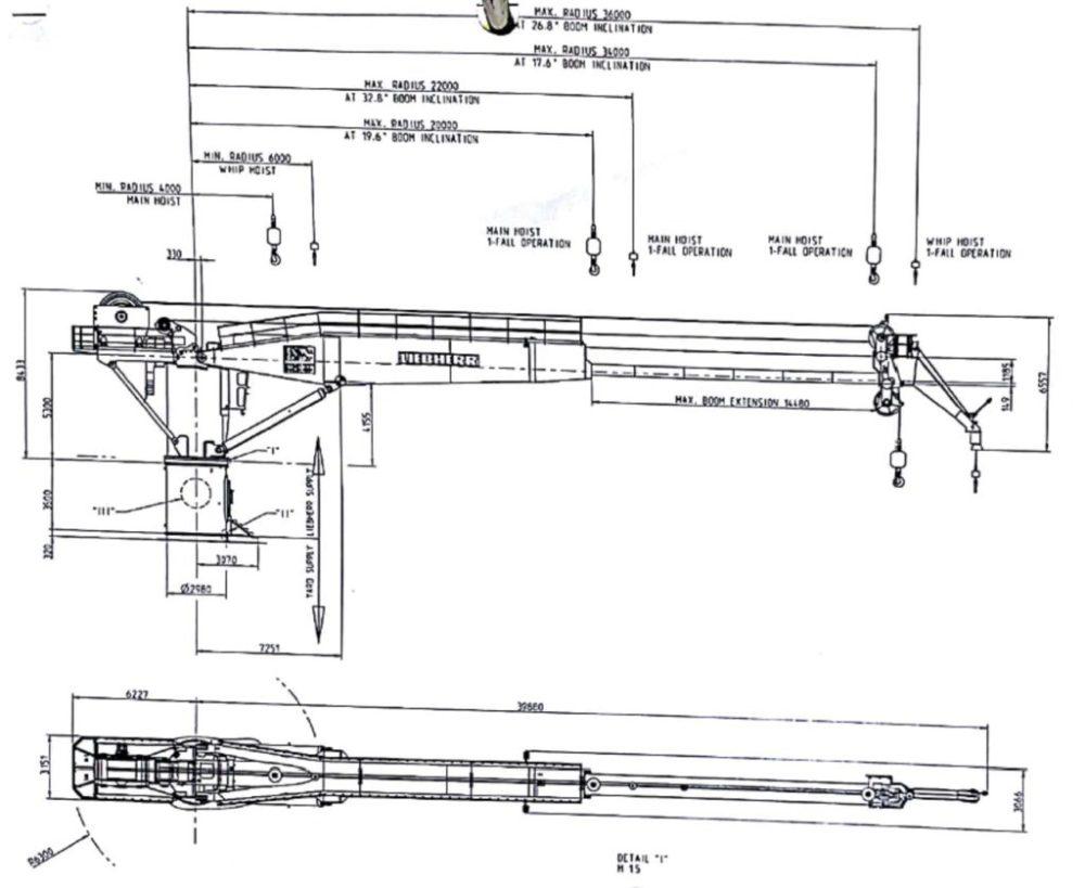 medium resolution of  50 ton liebherr offshore subsea crane for sale ga drawing