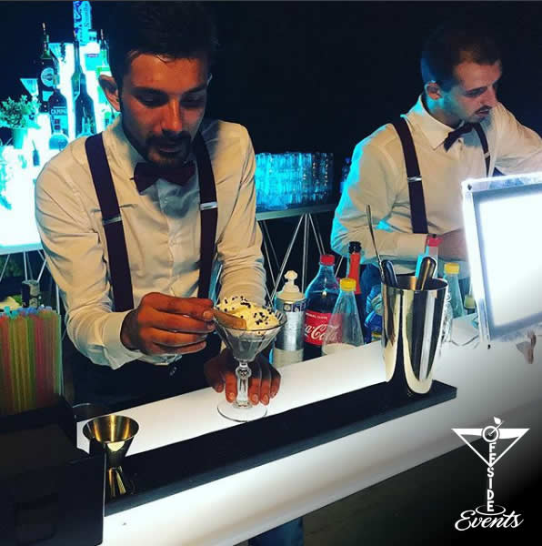 I professionisti di OFFSIDE EVENTS per un open bar di qualità