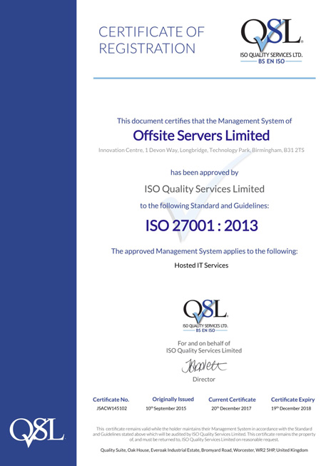 ISO 27001:2013 27001 Certificate