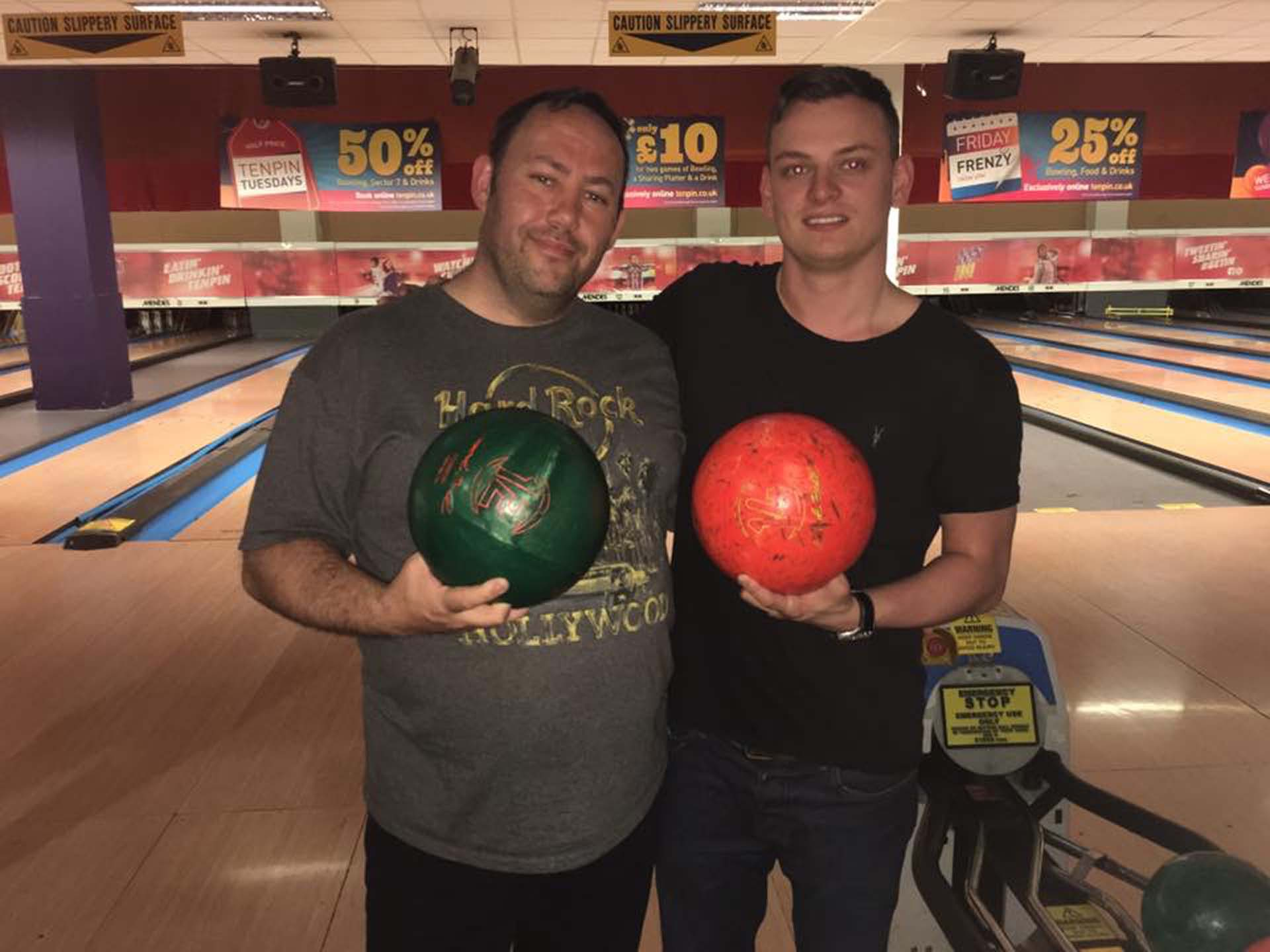 Phil and Bradley at Ten Pin Bowling