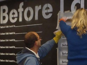 Setting up the pilot Before I Die wall, Gawler