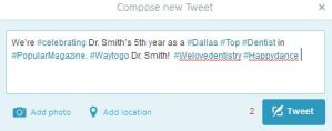 Dr Smith Tweet with Too Many Hashtags