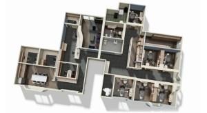 3D digital mockup of pinedo floorplans