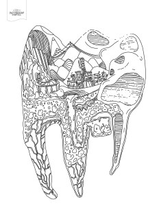 Tooth cityscape coloring page from Patterson Dental