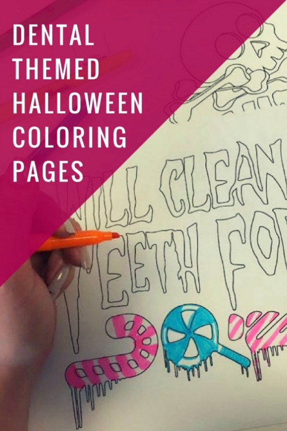 Dental themed Halloween coloring pages