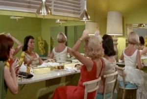 Retro women in the powder room