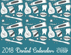 printable 2018 dental calendar front cover