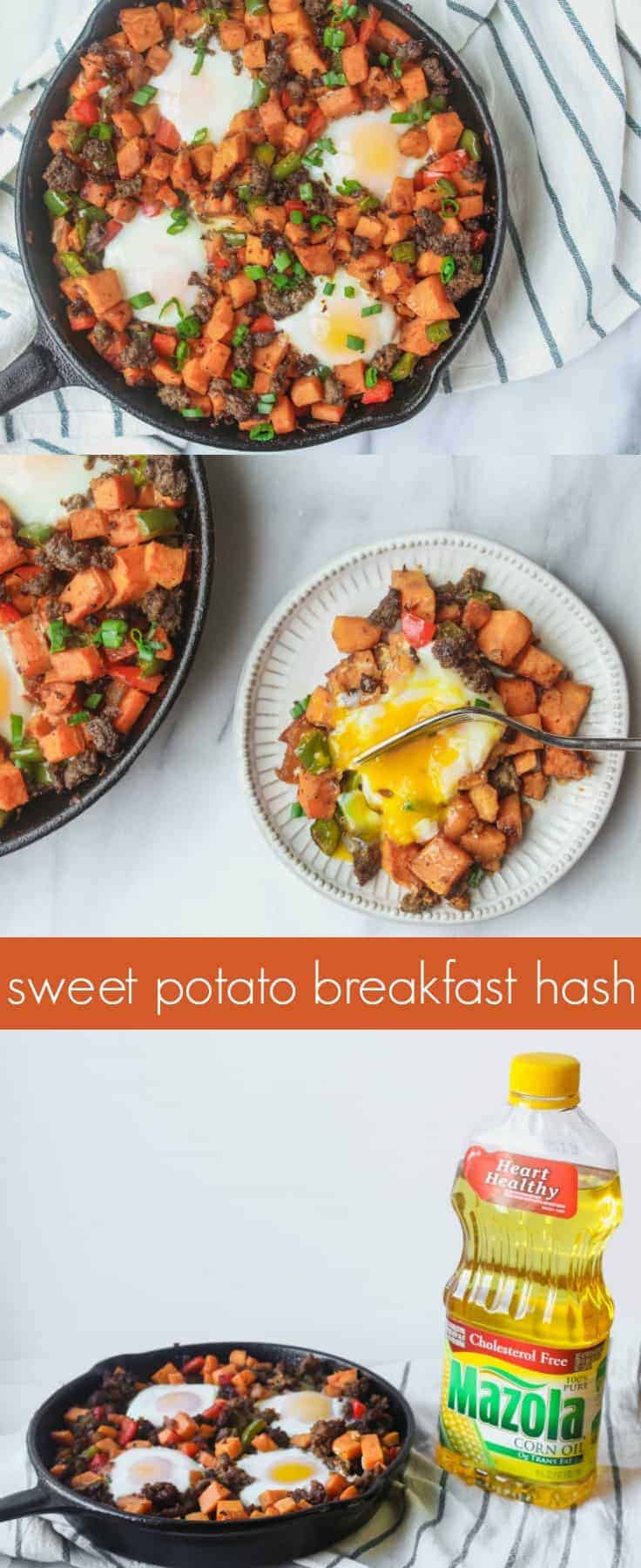 This sweet potato breakfast hash is one of our favorites for easy weekday breakfasts (and even dinners!). Swapping potatoes, sausage and butter for sweet potatoes, turkey sausage, and Mazola® Corn Oil instead of another oil or butter, makes this easy recipe healthier and lighter!