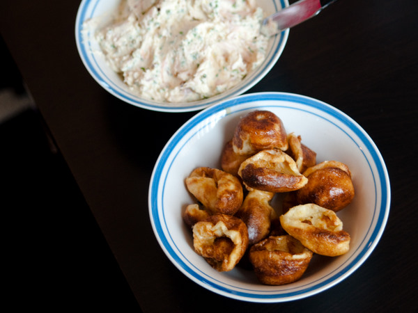 Yorkshire pudding and trout dip