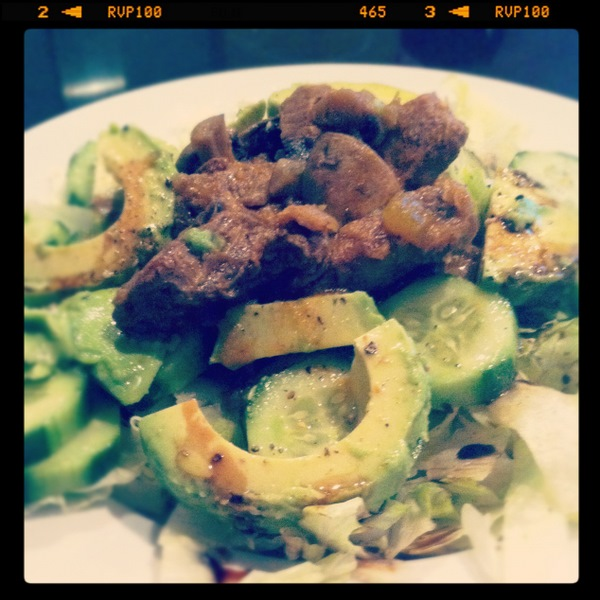 Lamb stew and salad