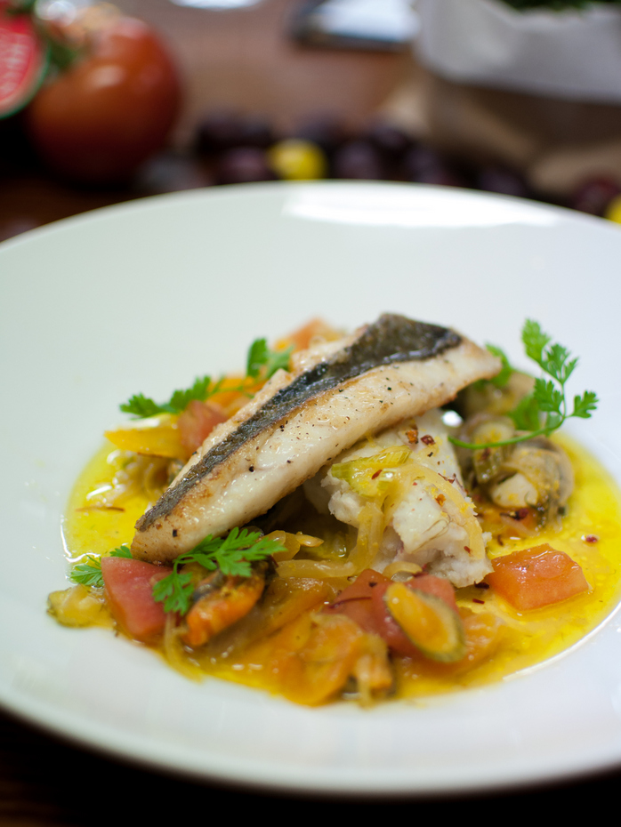 Fricassee of John Dory with Oyster and Mussel escabeche