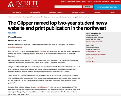 Screenshot of press release published by Everett Community College on 5-22-20