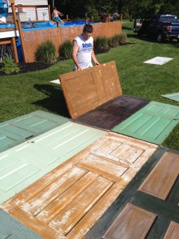 Because the doors were different colors on each side and some doors had sides in better shape then others, we did a lot of moving/switching in the yard layout.