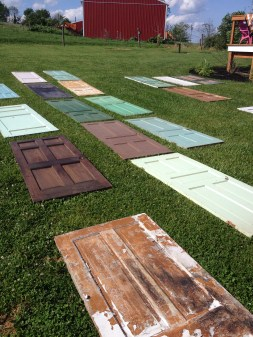 Because of the different colors and sizes, Buddy and I laid the doors out in the yard first.