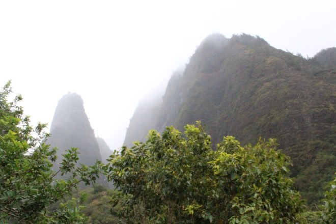 Mountains in the fog during our Maui family vacation.