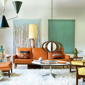 A Mid-Century Modern home decor style living room.
