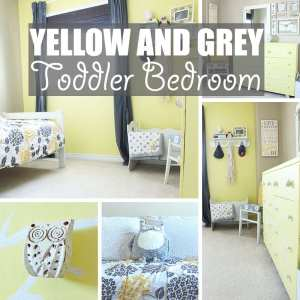 Yellow Toddler Bedroom by Of Houses and Trees | Welcome to our yellow toddler bedroom. Featuring grey and white accents and an owl motif. This room is a super happy fun place for a cute and quirky kid!