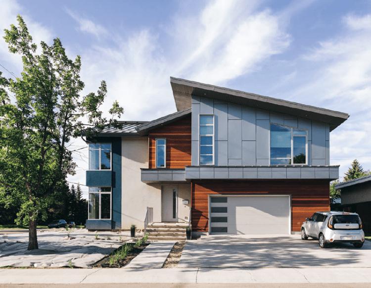 Canadian sustainable building De Waal Net Zero House in Edmonton, Alberta.