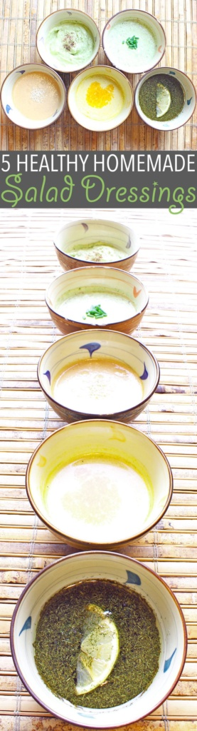 Healthy Homemade Salad Dressing | Healthy homemade salad dressing takes a bit of extra work, but the benefits are so worth it. Here are five of my favourites!