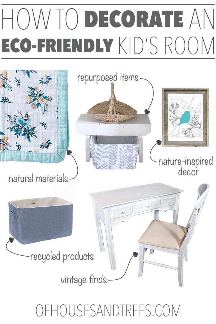 Decorating an eco friendly kids room is as easy as reducing, reusing and recycling. Think vintage finds, natural materials and using what you already have!