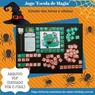 Jogo Escola de Magia com atividades de leitura e escrita.