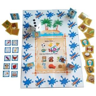 Jogo Os Náufragos contendo atividades com rimas e aliterações.