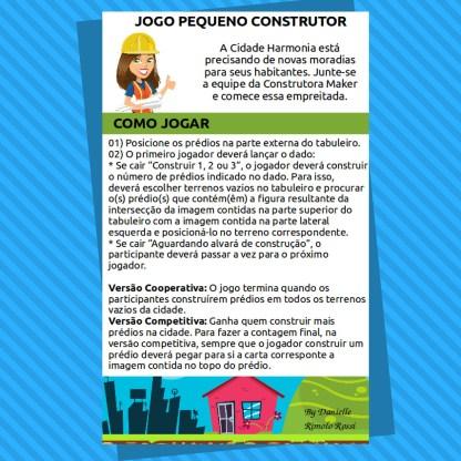 Jogo Pequeno Construtor com atividades de raciocinio lógico em PDF