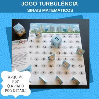 Jogo Turbulência com atividades com sinais maior ou menor que.