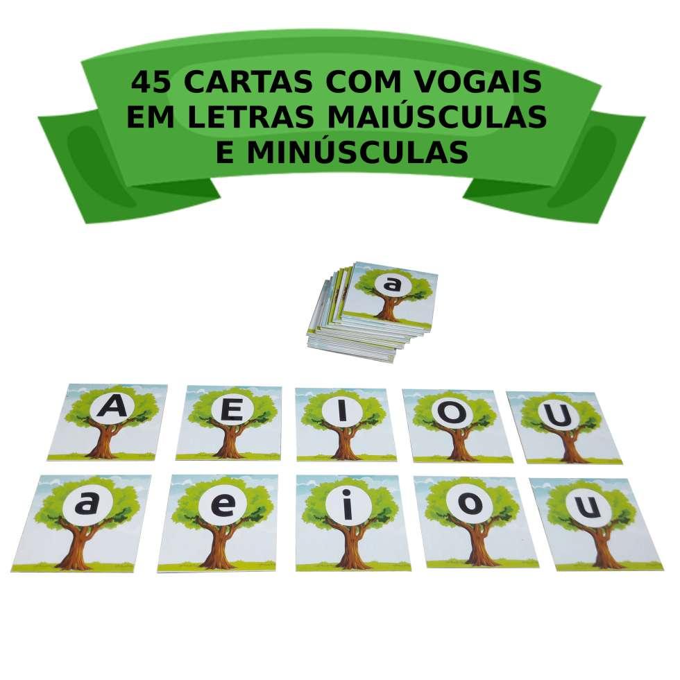 Jogo reflorestamento cartas com vogais
