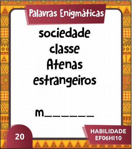 Cartas jogo palavras engmáticas para a matéria de história do 6º ano