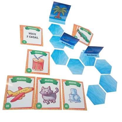 Componentes do Jogo a Ilha Misteriosa com atividades com adjetivos para imprimir