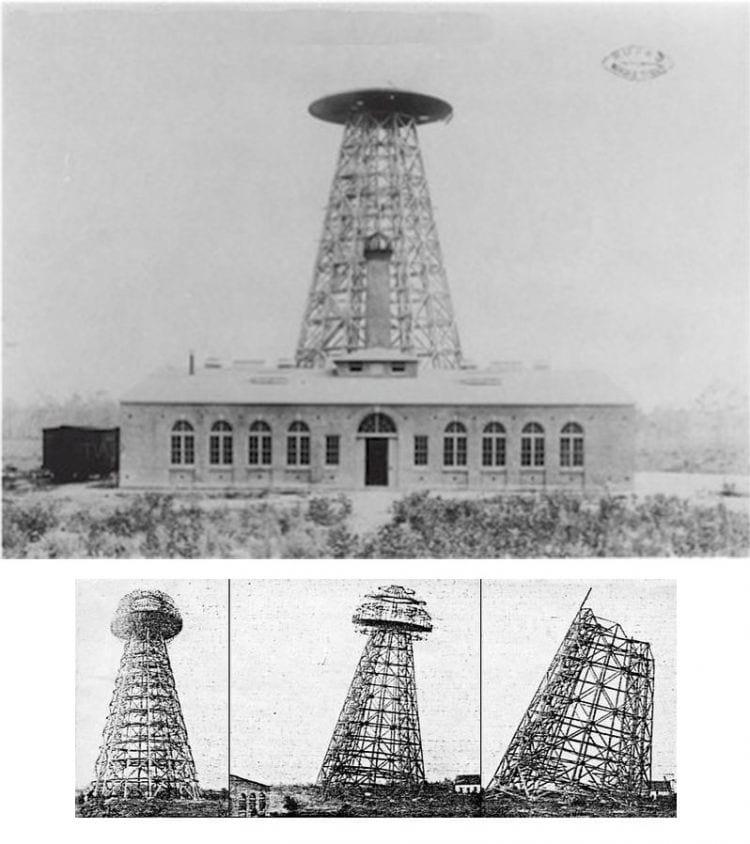 Na foto acima o prédio e a torre prontas, abaixo, a triste demolição dela, anos depois.