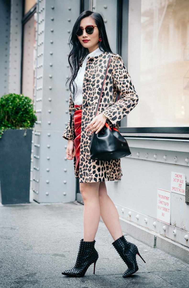 Parisa NYC Bucket Bag | ZARA Leopard Coat | Off The Shoulder Shirts for Spring | Of Leather and Lace - A Fashion Blog by Tina Lee