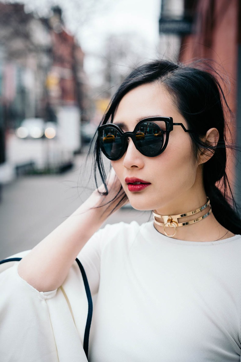 Go Big or Go Home: Flared Everything | Fendi Sunglasses | Storets Gemma Flowy Top | Forever21 Gold O-Ring Choker | Of Leather and Lace | A Fashion Blog by Tina Lee