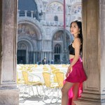 Black Bralette & Pink Ruffle Skirt at Piazza San Marco, Venice, Italy