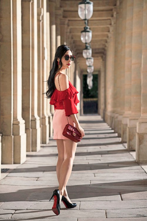 How to Style Red and Pink Outfits - Palais Royal, Paris, France | Of Leather and Lace