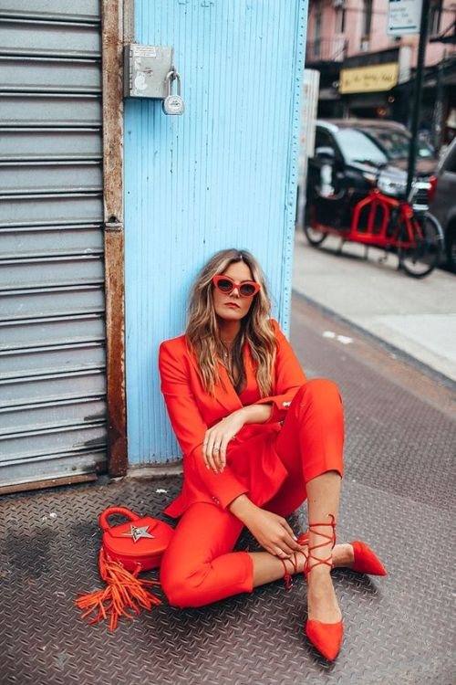 How To Rock A Red Suit For Women | Of Leather and Lace