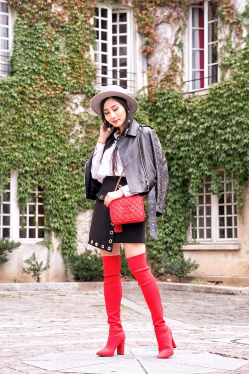 Styling the 'It' Shoes of the Season: Red Over The Knee Boots | Ofleatherandlace.com