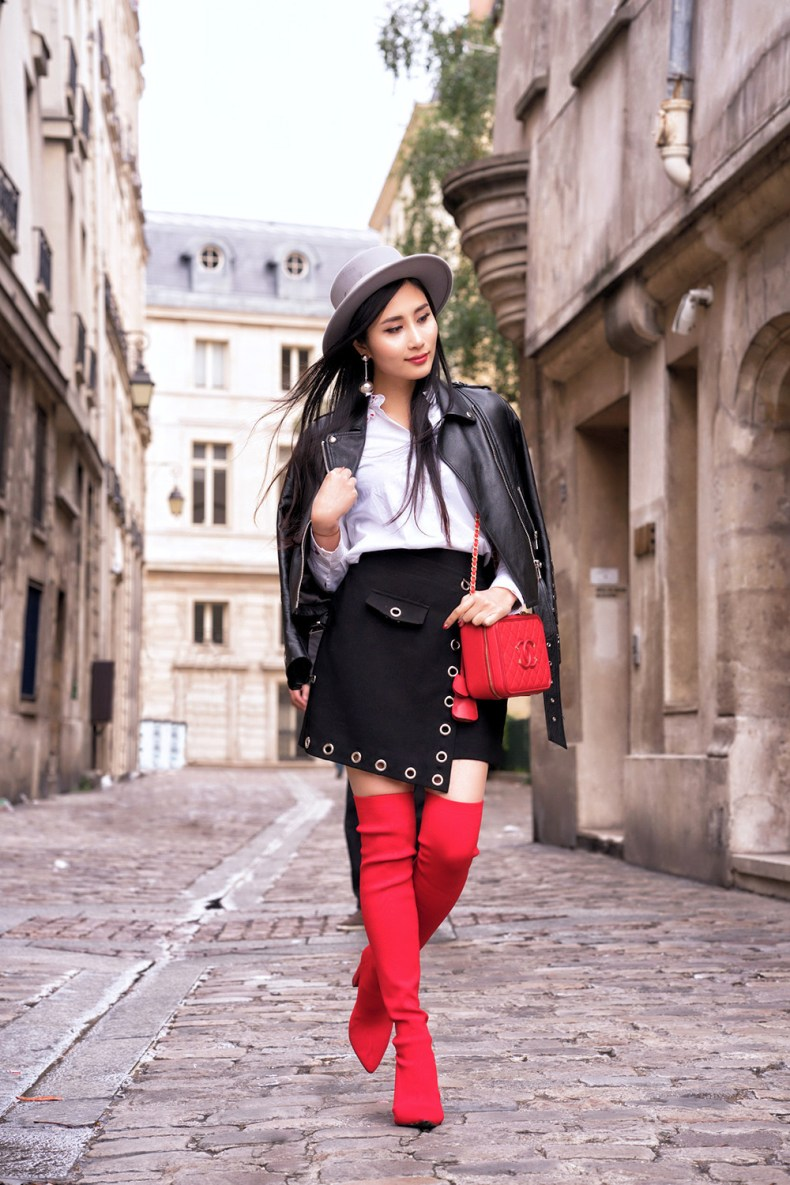 Red Over The Knee Boots Outfit | Of Leather and Lace | Fashion Blog by Tina Lee