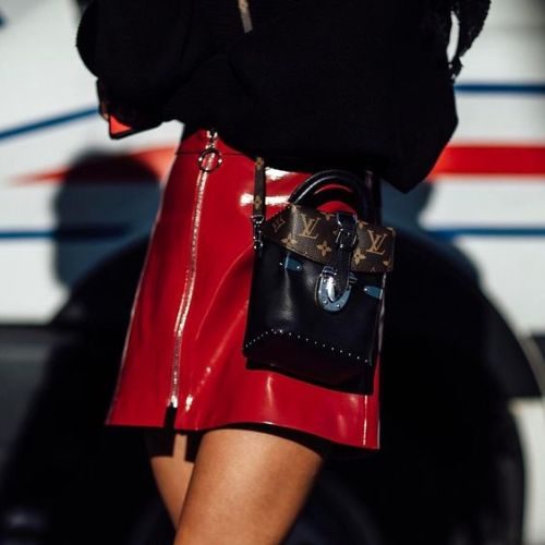 How to Wear the Vinyl Trend | Ofleatherandlace.com | Fashion blogger, style trends, fashion trends, outfit ideas, womens outfit ideas, vinyl skirt outfit, red vinyl skirt, fall outfits