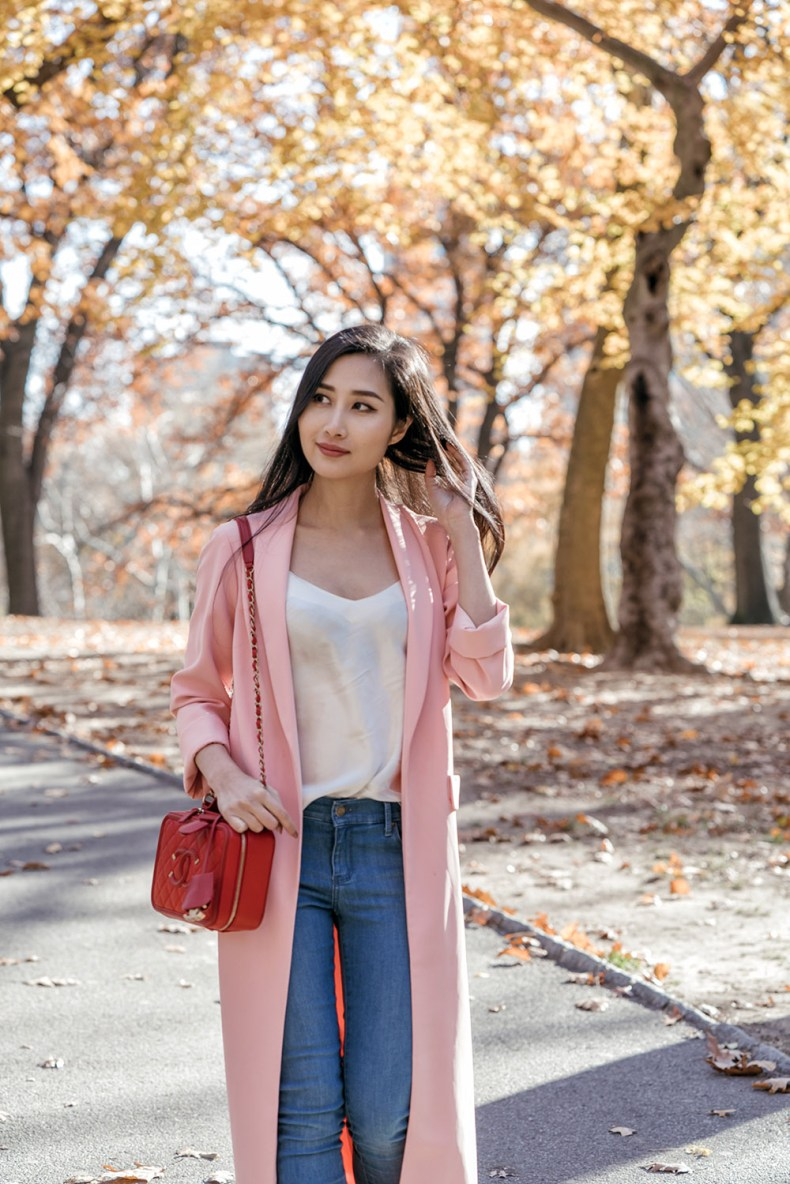 Pink Long Duster Coat in Central Park | in NYC | Ofleatherandlace.com