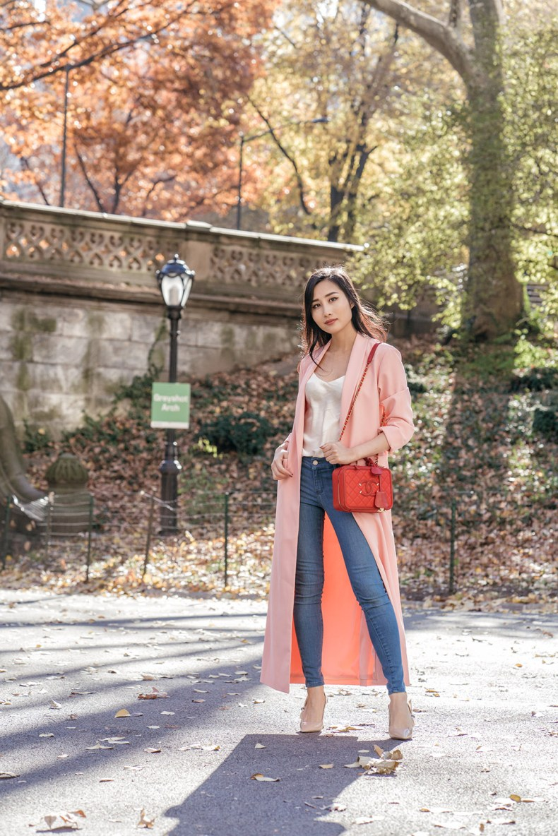Everyone Needs a Long Duster Coat - Pink Duster Coat and Jeans | in NYC | Ofleatherandlace.com